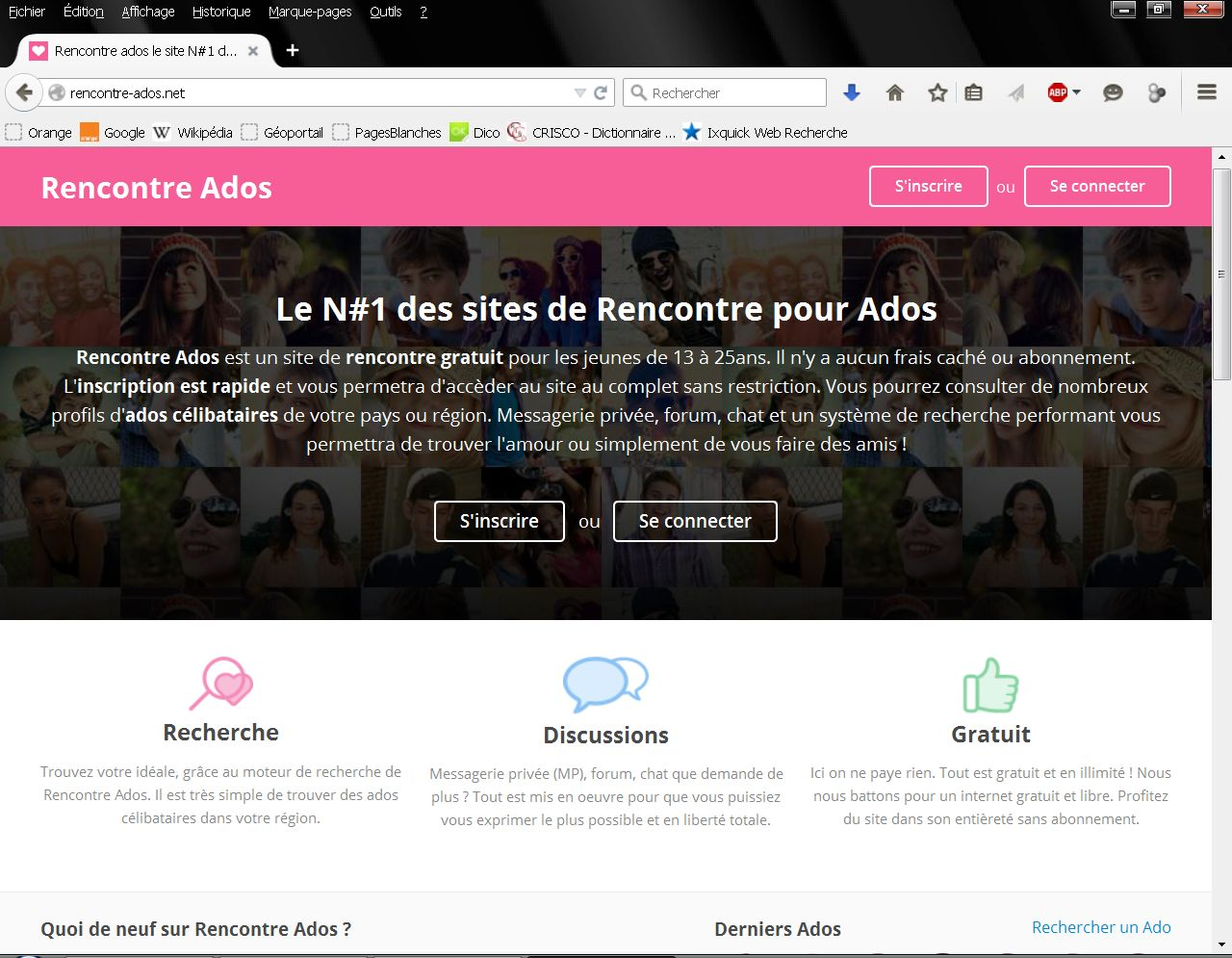 Site de discussion pour ado